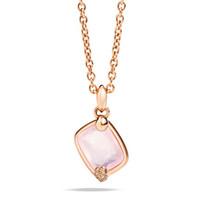 Pomellato 18K Rose Gold Pink Quartz Brown Diamonds Ritratto Pendant