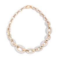 Pomellato Oblong Link 18K Rose Gold Diamond Tango Necklace