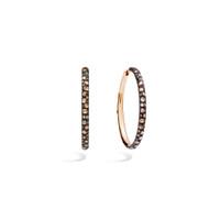 Pomellato 18K Rose Gold Oval Hoop Brown Diamond Tango Earrings