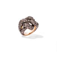 Pomellato 18K Rose Gold Brown Diamond Tango Knotted Ring