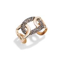 Pomellato 18K Rose Gold Brown Diamond Tango Flat Link Cuff Bracelet