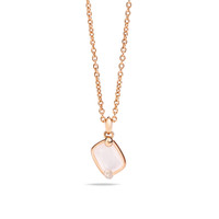 Pomellato 18K Rose Gold  Milky White Quartz Diamonds Ritratto Pendant