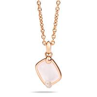 Pomellato 18K Rose Gold  Milky White Quartz Diamonds Ritratto Pendant