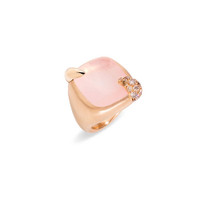 Pomellato 18K Rose Gold Pink Quartz Large Ritratto Ring
