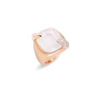 Pomellato 18K Rose Gold White gold Milky White Quartz Large Ritratto Ring