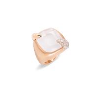 Pomellato 18K Rose Gold White gold Milky White Quartz Large Ritratto Ring