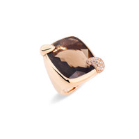 Pomellato 18K Rose Gold Smoky Quartz Large Ritratto Ring