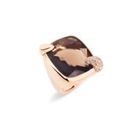 Pomellato 18K Rose Gold Smoky Quartz Large Ritratto Ring