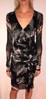 Fuzzi Nero Jungle Animal Print V-Neck Dress