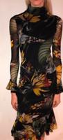 Fuzzi Verde Jungle Animal Print Mock Neck Dress