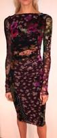 Fuzzi Vino Floral Patch Print Crew Neck Dress