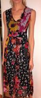 Fuzzi Nero Floral Patch Print V-Neck Dress