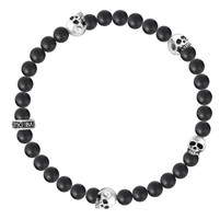 King Baby Studio Men's 6MM Onyx Bead Bracelet with Four Skulls
