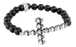 King Baby Studio Onyx Bead with Multi-Skull Cross Bracelet