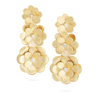 Marco Bicego 18K Yellow Gold Diamond Petali Three Flower  Earrings