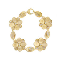 Marco Bicego 18K Yellow Gold and Pave Petali Flower Bracelet