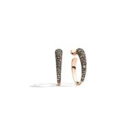 Pomellato 18K Rose Gold Oval-Shape Hoop Brown Diamond Earrings