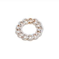 Pomellato Chain Link 18K Rose Gold Full Diamond Tango Bracelet