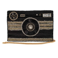 Mary Frances Focused Beaded Camera Crossbody Handbag