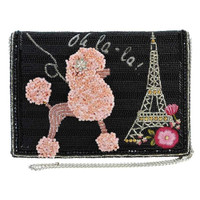 Mary Frances Oh LaLa Poodle Paris Crossbody Clutch Handbag