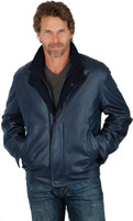 Remy Men's Double Collar Leather Jacket Denim/Navy