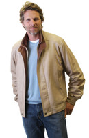 Remy Men's Double Collar Leather Jacket Vanilla/Dakota