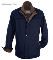 Remy Leather Men's Button-Down  Lambskin Leather Coat- MARINE/RUSTIC
