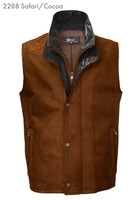 Remy Leather Men's Double Collar Lambskin Leather Vest- SAFARI/COCOA