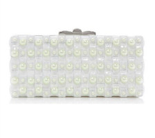 Judith Leiber Couture  Rectangle Basketweave Pearl Clutch