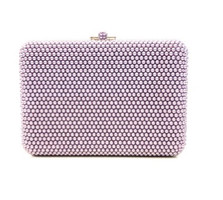 Judith Leiber Couture Lilac Slim Slide Pearly Clutch