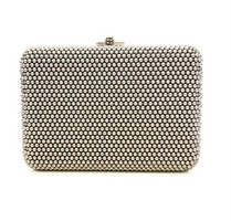 Judith Leiber Couture Dark Grey Slim Slide Pearly Clutch
