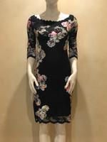 Olvi's Black Summer Appliqué Floral  Lace  Dress