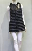Herno Black Nylon Hooded Mid-Length Quilted Vest