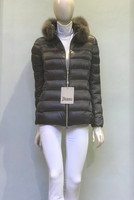 Herno Charcoal Nylon Quilted Jacket with Fur Collar