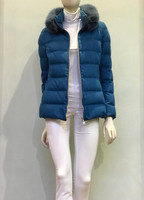 Herno Blue Quilted Jacket with Fur Collar