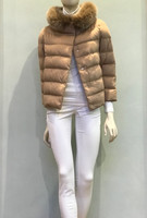 Herno Camel Quilted Jacket with Fur Collar