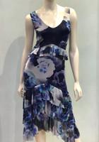 Fuzzi Blue Floral Print Sleeveless Dress