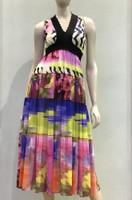Fuzzi Printed V-neck Sleeveless Dress
