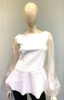 Chiara Boni La Petite Robe White Katell Organza Top
