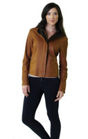 Remy Double Collar Leather Jacket Tobacco/Peat