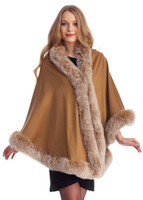 Camel Cashmere Capelet with Fox Trim