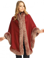 Wine Cashmere Capelet with Snowtop Fox Trim