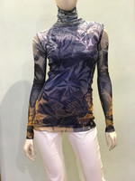 Fuzzi Avio Print Turtleneck Top