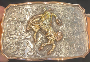 """Bohlin 1.5"""" Steriling Silver and Gold Cowboy and Bucking Bronco Trophy Buckle"""