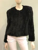 Paula Lishman Knit Sheared Bridget Black Jacket