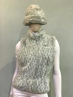 Paula Lishman Hand Knit Sheared Beaver Mint Tube Hat
