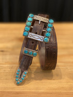 Douglas Sterling Silver Turquoise  4pc. Buckle Set