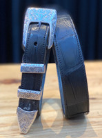 Chacon Belts & Buckle New York Engraved Sterling Silver,1""