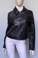 Jakett Megan Vintage Leather Jacket with Grommet Detail - Black