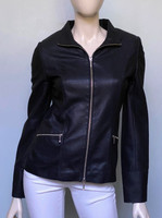Lyn Leather Katie Jacket - Black Perforated with Silk Trim